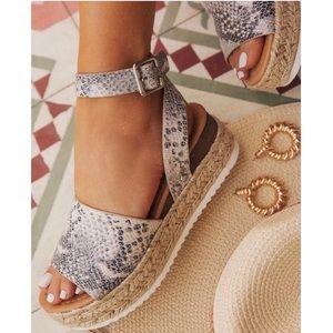 Shoes - Snake Print Espadrilles Platform Sandals Platform